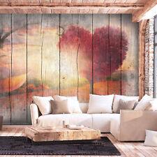 VLIES FOTOTAPETE Holz Holzwand Herz Landschaft TAPETE Wandbilder xxl Wohnzimmer