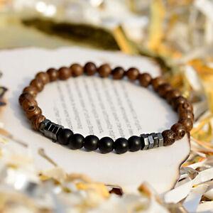 Fashion Handmade Men Hematite Natural Stone Wood Unisex Beads Bracelets Gift