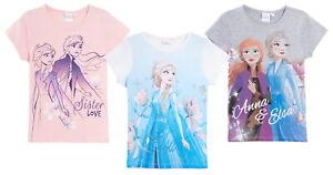 Girls Disney Frozen 2 T-Shirt Short Sleeved Top Kids Elsa Anna Summer Tee Age