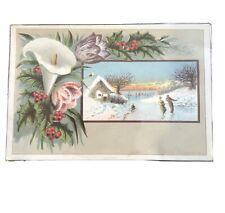 ICE SKATING - OUTDOOR SCENE - BLANK - VICTORIAN - Vintage Trade Card