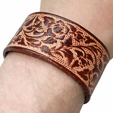 Brown Leather Floral Flower Bracelet Wristband Bangle Mens Womens Ladies Girls