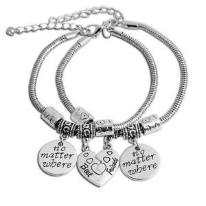 Best Friends No Matter Where Silver Broken Heart Pedant Snake Chain Bracelet UK