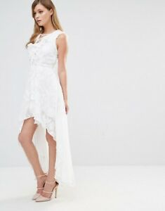 Dark Pink Frill Dress with Lace Up Detail White Uk 8