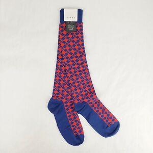 Gucci Men's Blue/Red Cotton Blend Mr. Rombin Knit Long Socks M/11 543309 4274