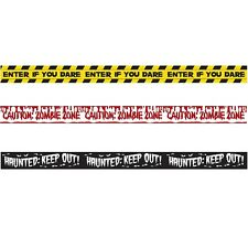 HALLOWEEN FRIGHT BANNER TAPE PACK OF 3 PLASTIC BANNERS ZOMBIE PARTY DECORATION