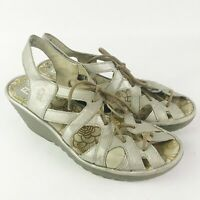Fly London Yapi Silver Lace Up Wedge Shoes Size 41 US 10