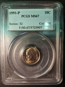 1991-p pcgs ms67 Roosevelt Dime OBH Old Blue Holder Very Tough Coin