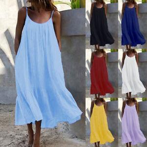 Womens Tank Retro Strappy Beach Pure Ruffles Holiday Sundress Ladies Long Dress