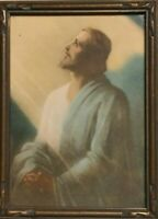 Vintage  original Framed 5×7 Praying Jesus Print