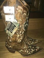 Corral Light Tan leather crystal cowboy boots line dance country western uk 4