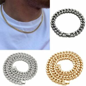 Gold Silver Curb Cuban Link Chain Necklace Mens Chain Necklace Bracelet Jewelry