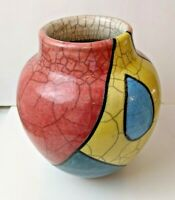 "De Ann Orr Modernist Geometric Multi Color Raku Pottery Vase 7"" Tall 3"" Opening"