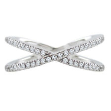 """14k White Gold 0.40ctw Diamond Trendy """"X"""" Ring Size 6 Handmade in USA NEW w TAGS"""