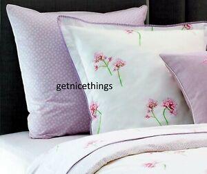 Yves Delorme Queen Duvet Cover 92x92 White Lavender Floral 100% Cotton Percale