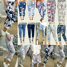 Women's Ladies Turn Up Floral Rose Printed Trousers Summer Beach Trouser Pants