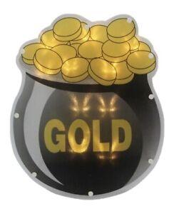 "12"" LED Lighted Irish St. Patricks Day Pot of Gold Window Decoration w/Batteries"