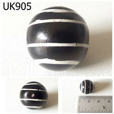 Old BULLSEYE BALL Pyu Tribe CHUNG DZI Banded Zebra Etched Agate Bead #UK905a