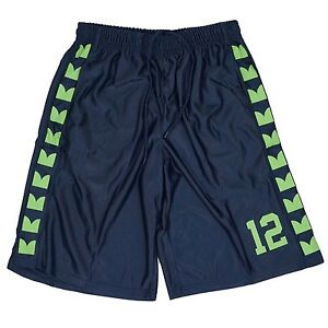 Seattle Seahawks 12TH Man Fan YOUTH Basketball Shorts Navy Lime Feathers