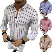 Men Striped Long Sleeve T Shirts Polo Shirts Smart Formal Work Casual Blouse Top