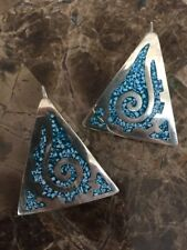 Estrada Ta-91 Mexico Turquoise Earrings Sterling Silver 925 Taxco Arenas