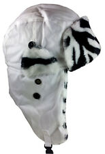 Dakota Dan White Cotton & Faux Zebra Fur Trim Winter Hat Ski Hat Tropper Style