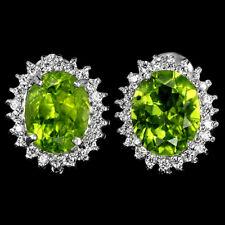 Sterling Silver 925 Oval Genuine Natural Peridot & Lab Diamond Stud Earrings #2