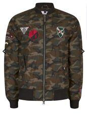 Khaki Camouflage Print Badge Bomber Jacket. Topman. Size M