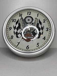 2005 Harley Davidson Motorcycles Metal Bulova Wall Clock Tested Works