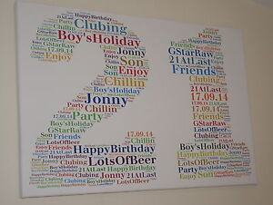 Personalised unique Birthday word art Canvas All Colours, All Occasion, handmade