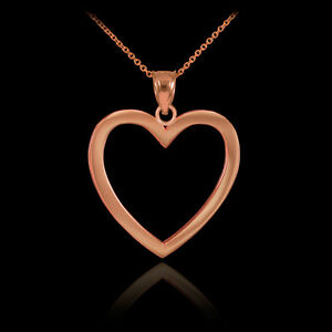 14K Polished Rose Gold Open Heart Pendant & Chain Necklace with Gift Box