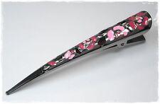 NEU 10,5cm HAARCLIP aus METALL silber/pink/rosa HAARKLAMMER HAARSPANGE