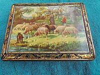 ancienne boite- tôle lithographiée 1950-scène pastorale-bergère/chien/brebis