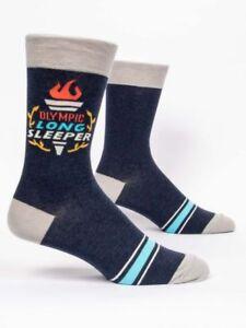 Blue Q Men's Novelty Crew Socks, Olympic Long Sleeper - Blue/Grey - New (OSFA)
