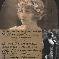 🌓 Mary MARQUET carte de visite autographe à la comédienne Berthe CERNY