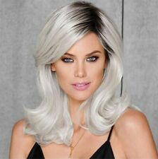 Ash Gray to Silver White Ombre Wavy Curly Blonde Wig Shoulder Length Women Hair