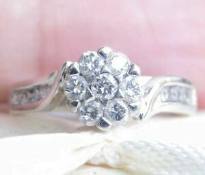 18k 18ct Solid White Gold Diamond Cluster Ring. 0.60ct Size O 3.55g