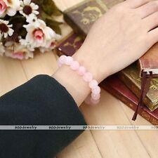 Natural Rose Quartz Crystal Gemstone Beads Buddha Prayer Mala Bracelet HOT