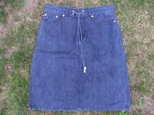 "Polo Ralph Lauren Denim Jean Skirt With Pockets Size 10 12 L22"" Dark Blue"