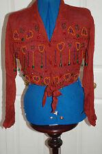 **Vintage Miss Selfridge Sz 12 Burnt Red hanging & stitched bead waist shirt top