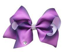 Purple Hair Bows Girls Diamante Hair Clip Accessories 12cm POL90