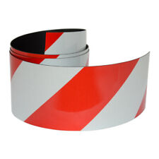 FLURO Magnetic Reflective Tape 1M x 50mm x 0.8mm Hi-Vis Red and White Stripe