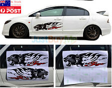 Black Tiger Vinyl Graphics Car Door Side Protector Sticker Decoration Sport 70cm