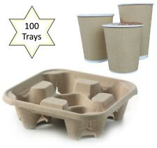 100 x 4 Cup Takeaway Cardboard Carry Tray Holder Tea Coffee Party Event Catering