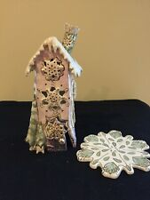 Blue Sky Clay Works Heather Goldminc Snow Tealight Candle House w/Underplate