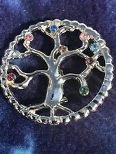 Vintage Jewelry Multi Color Rhinestone Tree Of Life Silvertone Brooch Pin Lot B