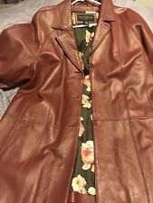 Centigrade Women's Leather Jacket Burgundy w/Floral Lining - Plus Size 1X