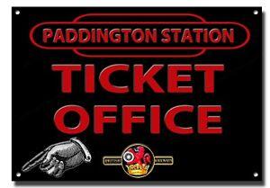 "PADDINGTON STATION TICKET OFFICE METAL SIGN.RAILWAY SIGN / MAN CAVE SIGN.11"" X 8"
