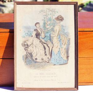 Ancienne gravure sous cadre La Mode Illustrée Toilettes de Mme Coussinet