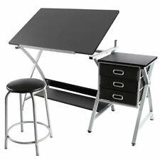 Drawing Drafting Table Craft Versatile Desk Tabletop Tilted Adjustable w/ Stool