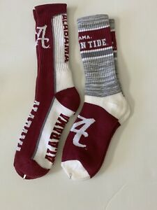 Alabama Crimson Tide Adult Crew 2-Pair Set Socks Free S/H Lrg High Quality (F12)